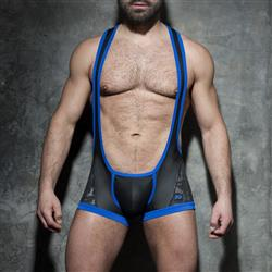 Addicted Fetish Camo-Mesh open singlet royal blue