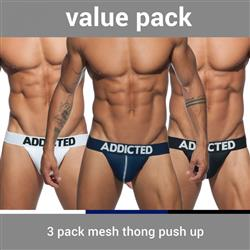 Addicted 3 Pack Mesh Thong Push Up
