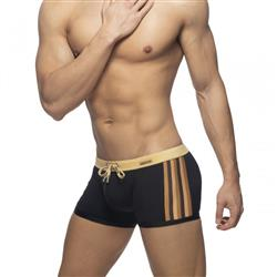 Addicted Black Striped Swim Trunk gold