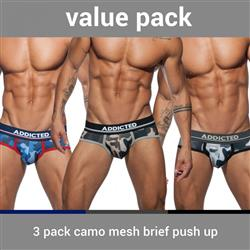 Addicted 3 Pack Camo Mesh Brief Push Up