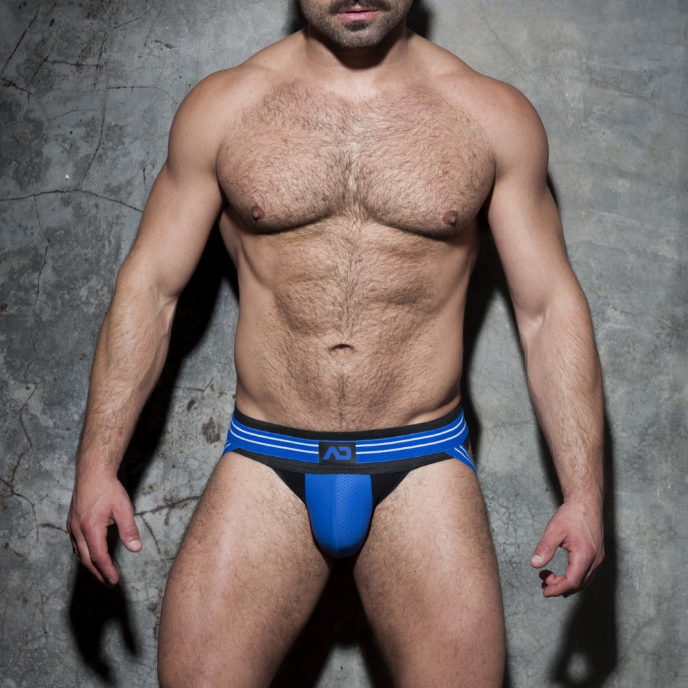 Addicted Fetish Double Stripe Jock blue