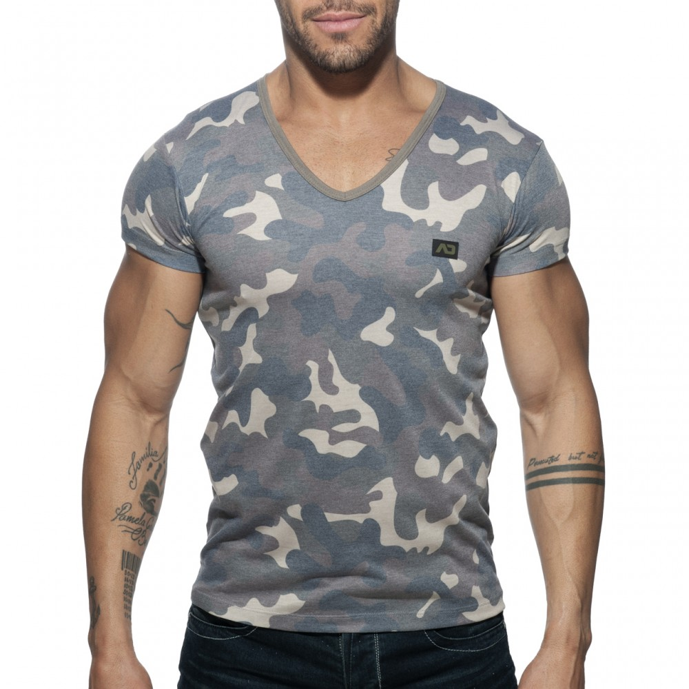 Addicted Washed Camo T-shirt camouflage grey